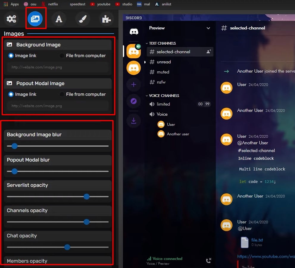 Customize the discord background image