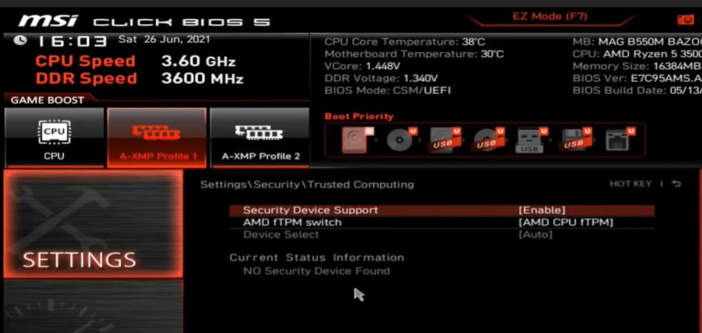 Enable TPM 2.0 on MSI motherboard to Install Windows 11