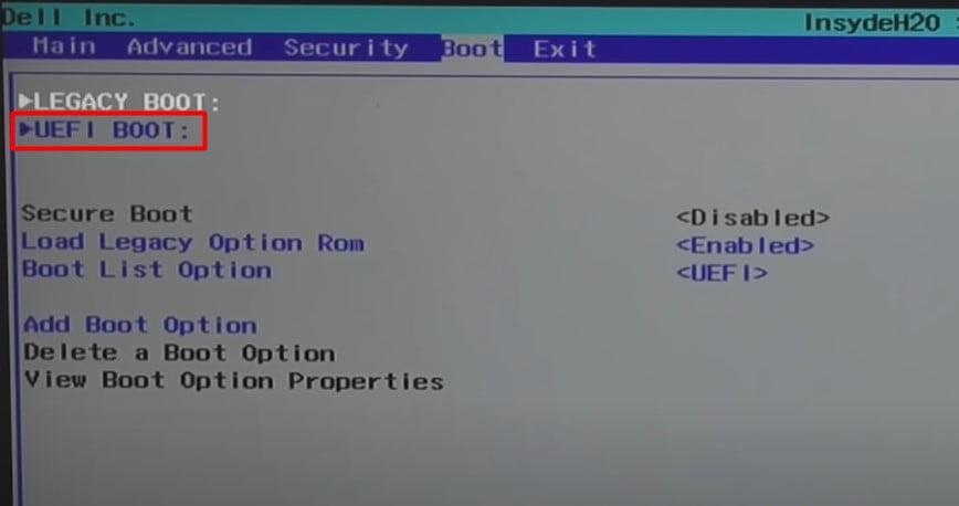 Select UEFI Boot