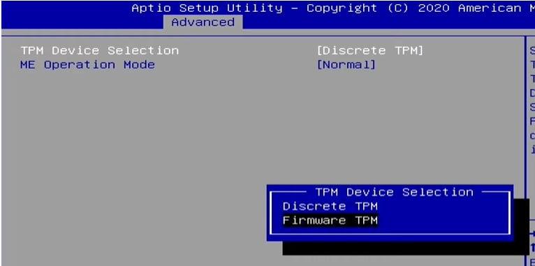 Windows 11 BIOS Settings Select TPM Device Selection as Firmware TPM