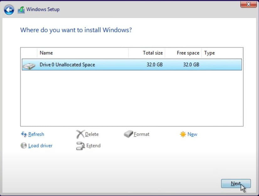 Select a new created partition