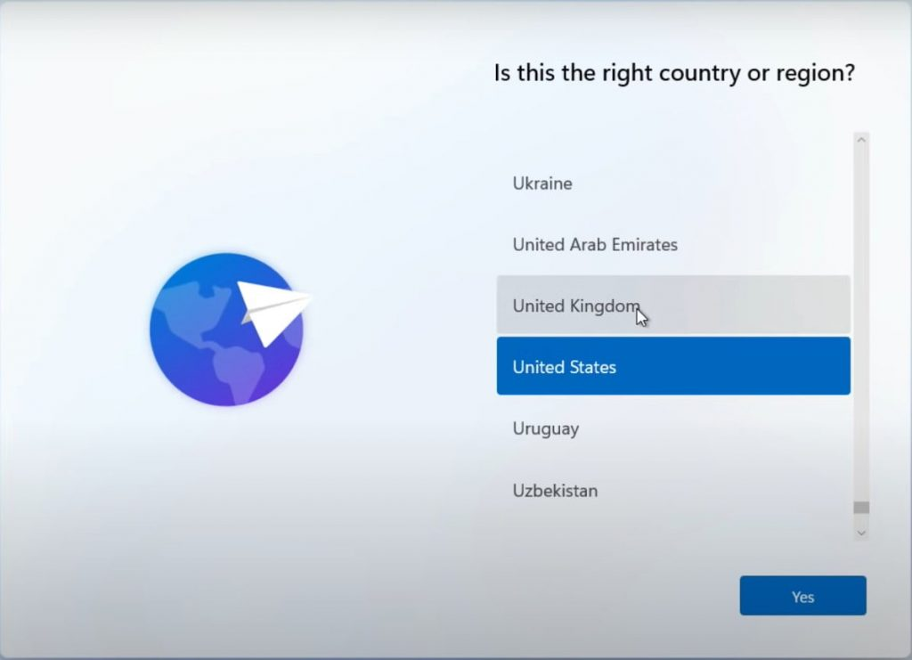 Select the Country or region
