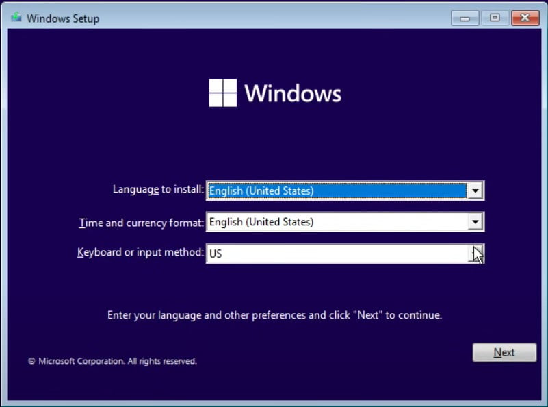 Set up Windows Language,Time and Currency and Keyboard