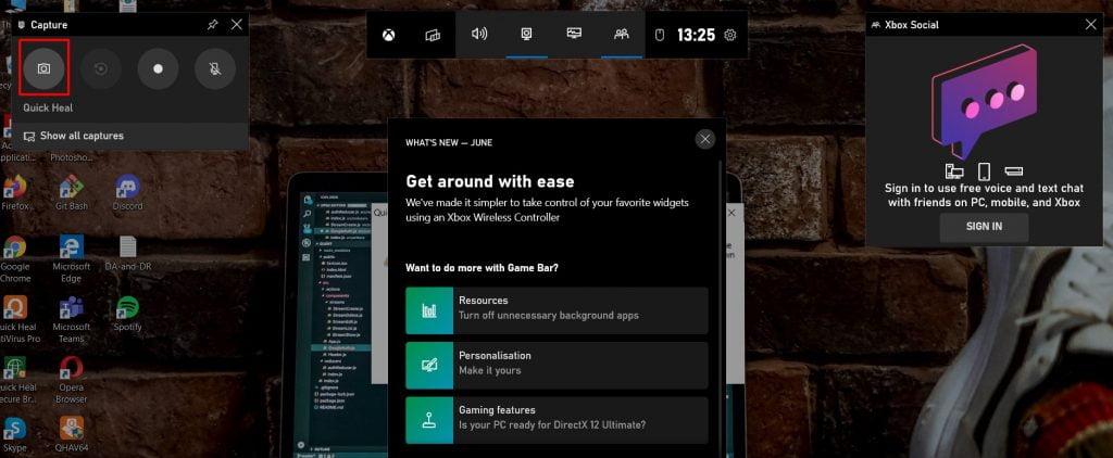 Xbox game bar widget view