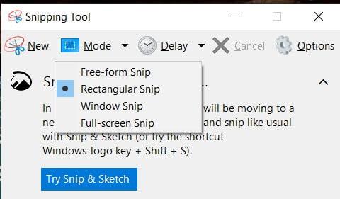 Take screenshot on windows 11 using snipping tool