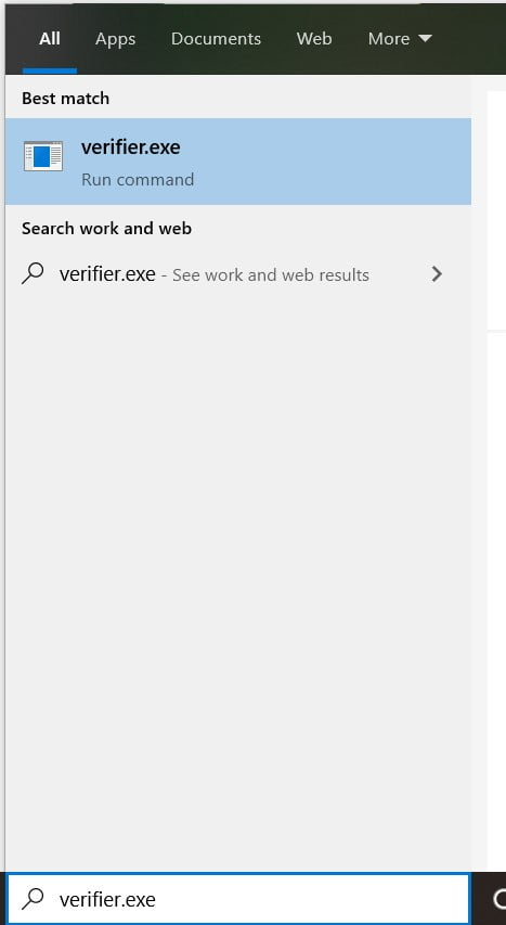 Type Verifier.exe in search box