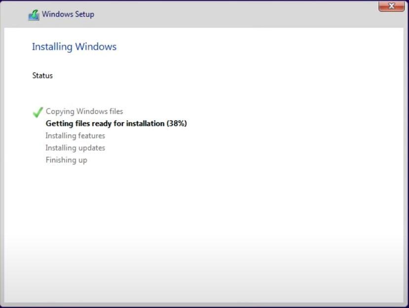 Wait for installing windows 11