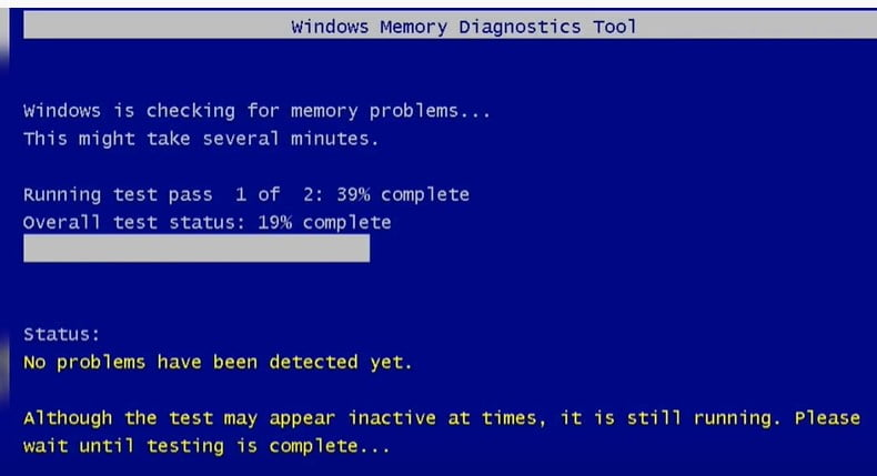 Windows Memory Diagostics tool scanning