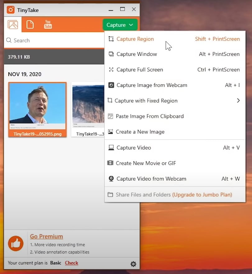tinytake screenshot features