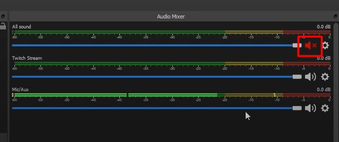 All sound channel is for Discord - click on sound icon to Mute Discord on OBS