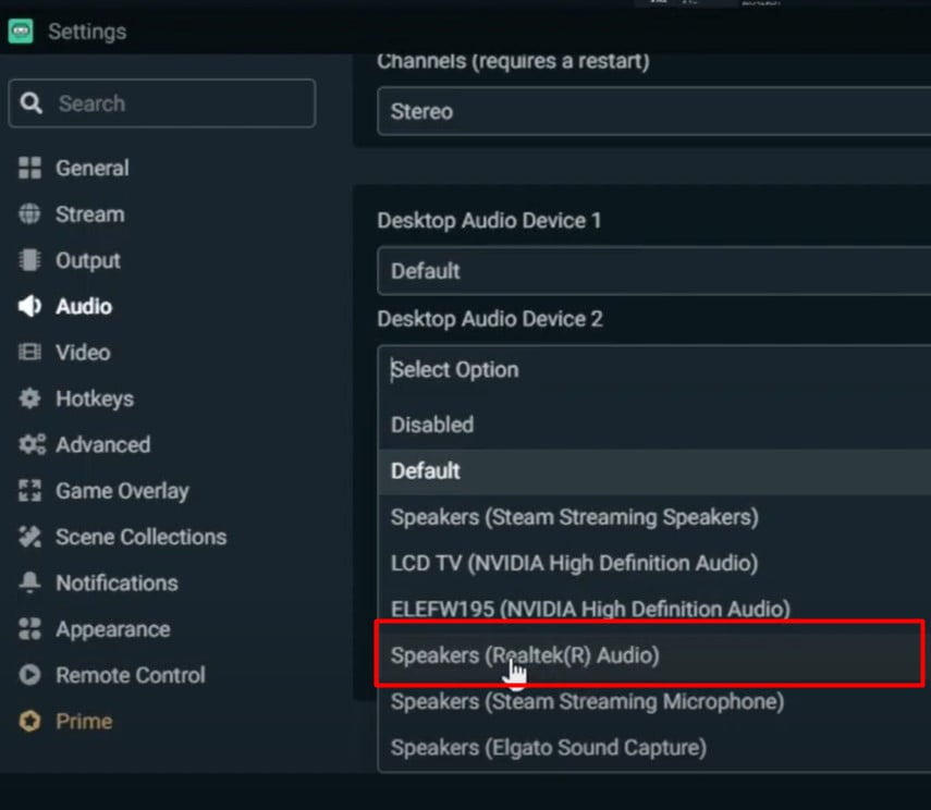 Change The OBS Desktop Audio Device 2 foChange The OBS Speakers