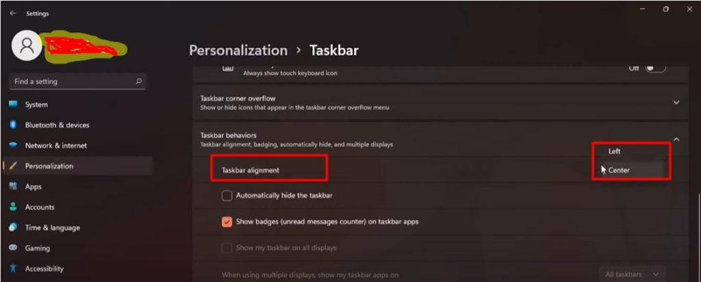 Change taskbar icons alignment