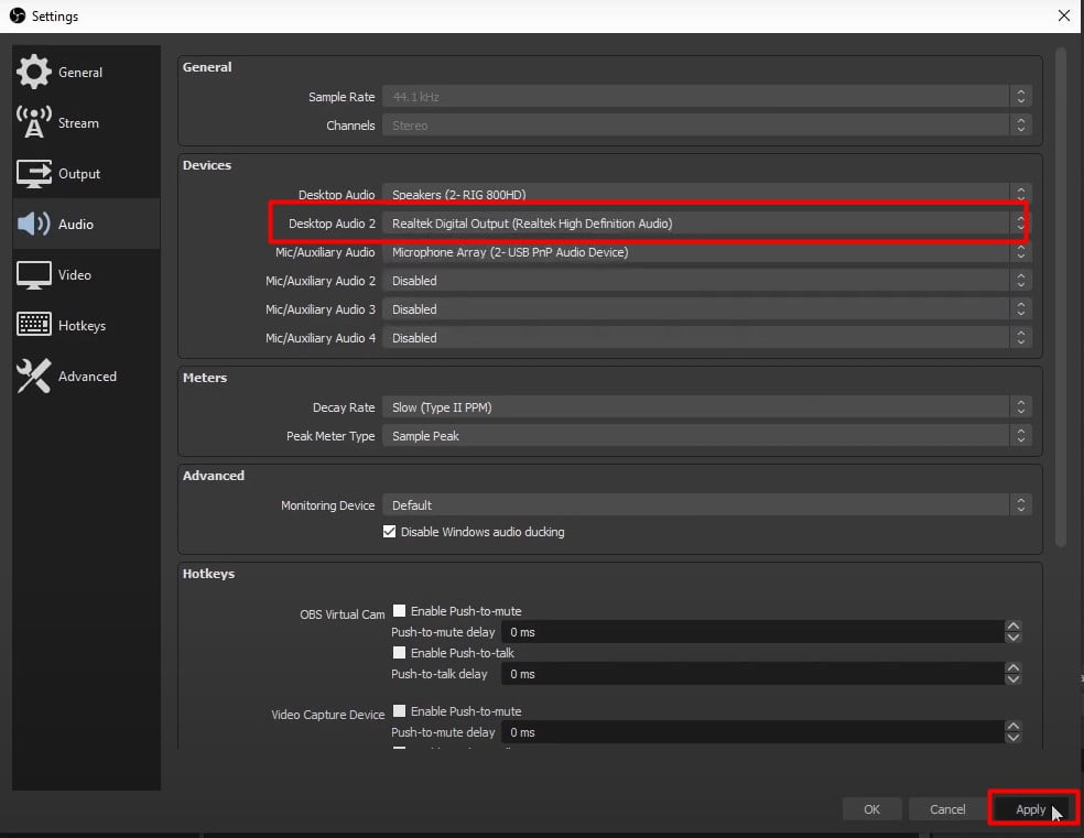 Change Desktop Audio 2 setting