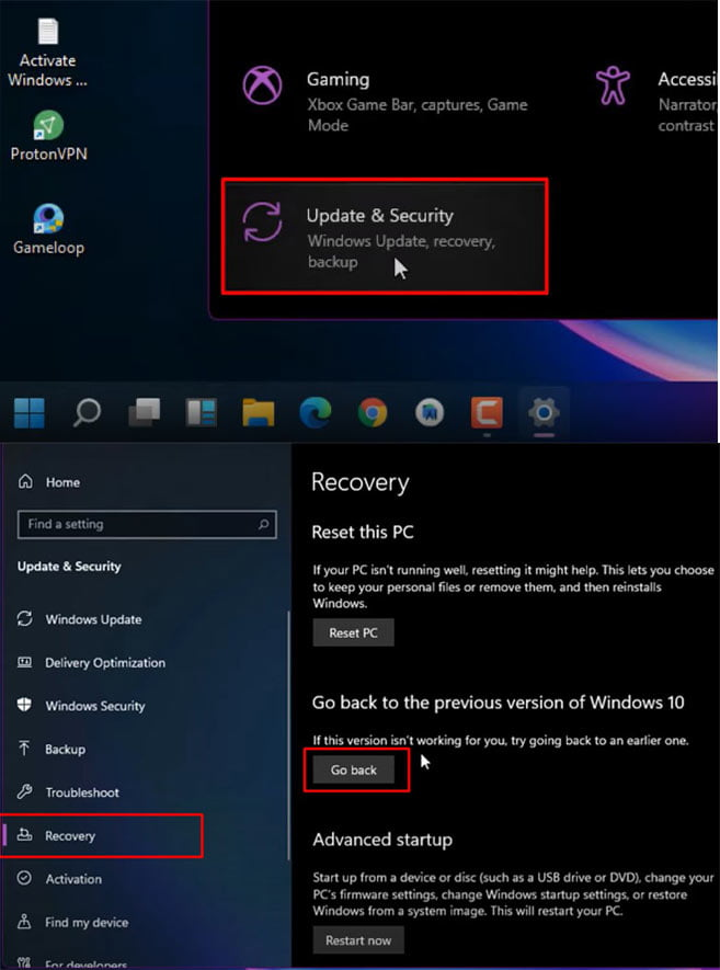 Go to settings, update-&-security-then-recovery and go back option to Rollback Windows 11 To Windows 10