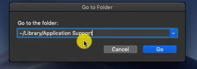 Nevigate to the Application Support folder