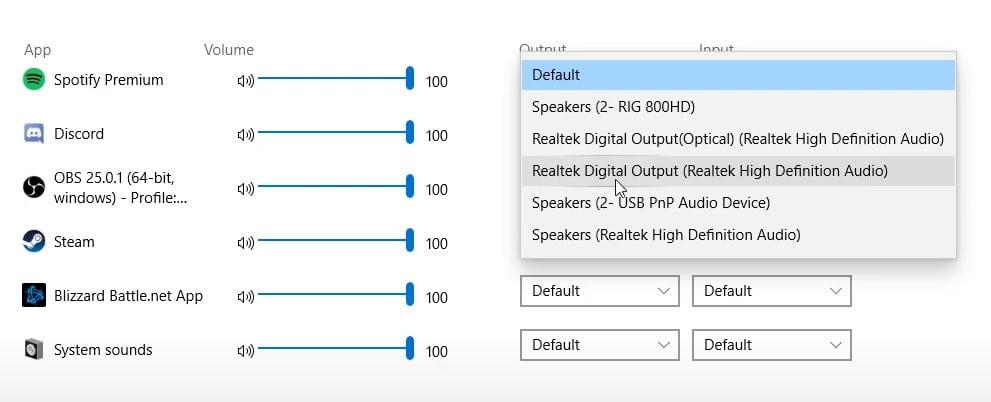Output for Realtek Digital Output