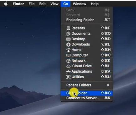 Select the Go to folder option