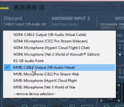 Set Discord channel as MME - Cable Output