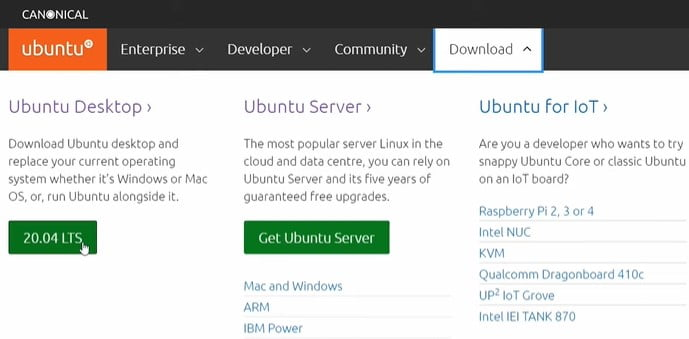 Download Ubuntu from Official SIte