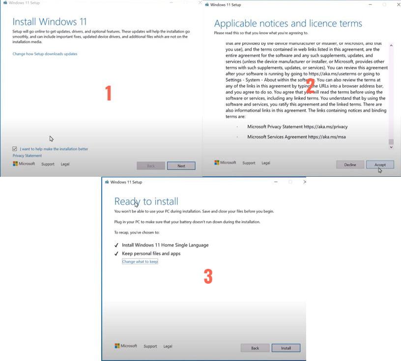 Install windows 11 Using Setup,exe through update