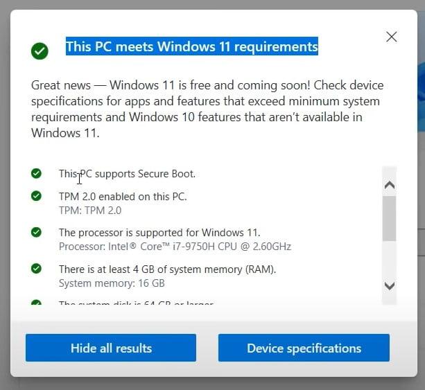 PC health-check App for windows 11