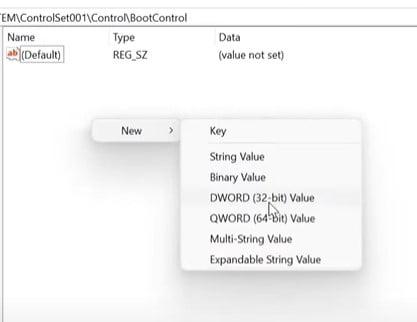 Select DWORD (32-bit) Value