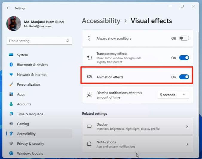 turn off animation effect On Windows 11