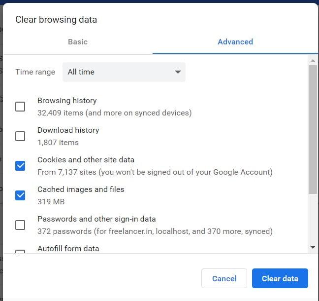 Clear Browser Cache to fix Roblox error code 529 error