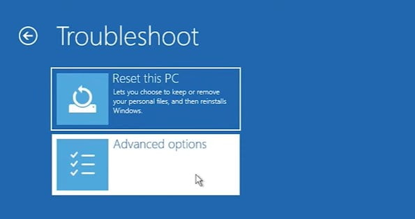 In the troubleshoot utilities click on Advanced options