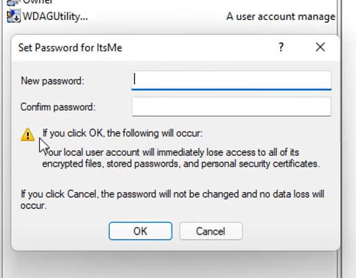 Leave the password field empty and it will remove login password from windows 11