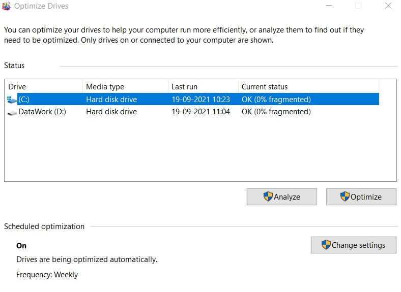 Optimize you drive in windows 11