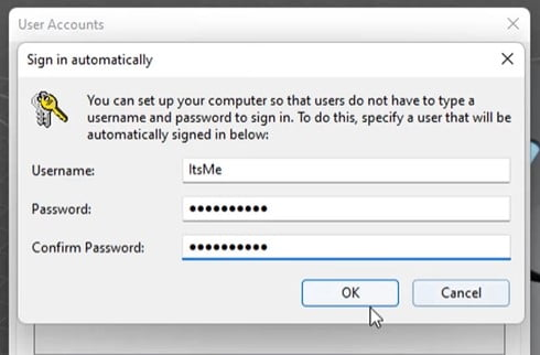 Put Your Microsoft account and Remove Login Password From Windows 11