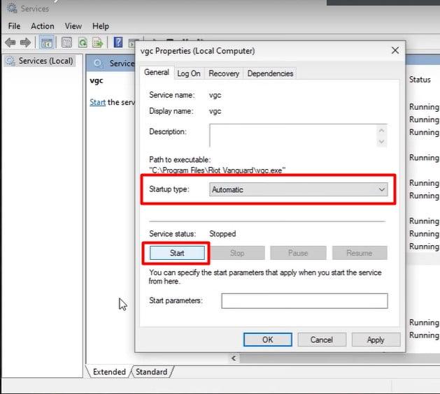 Set Automatic VGC Service Startup to fix Valorant Error Code 43