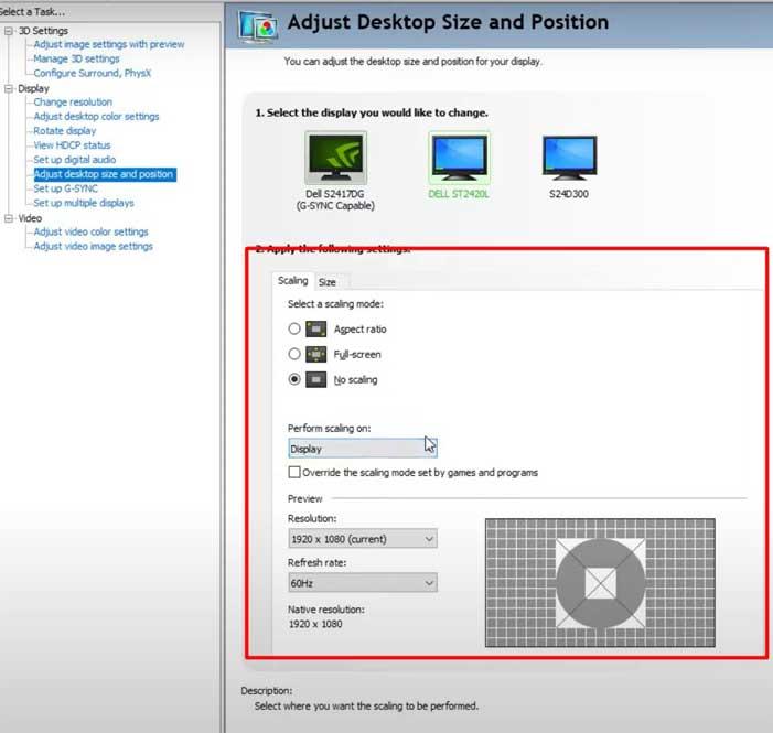 Adjust Desktop Size and Position