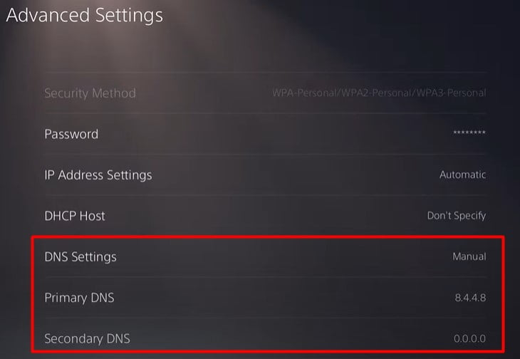 CHange DNS Settings on PS5 To fix Fix PS5 Error CE-100005-6