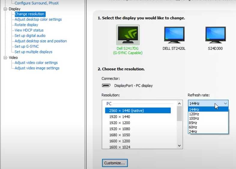 Change Nvidia Display resolution