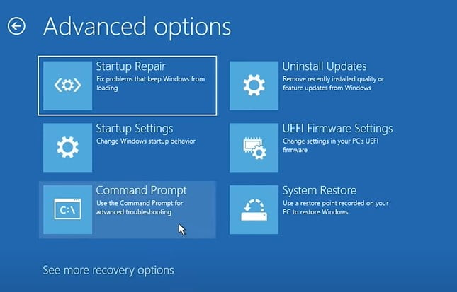 Click on Command Prompt on from Startup Utility