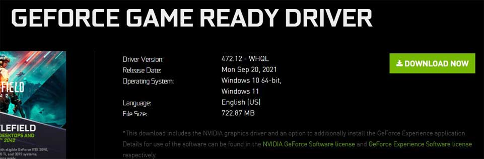 Download the Geforce Game Ready Driver