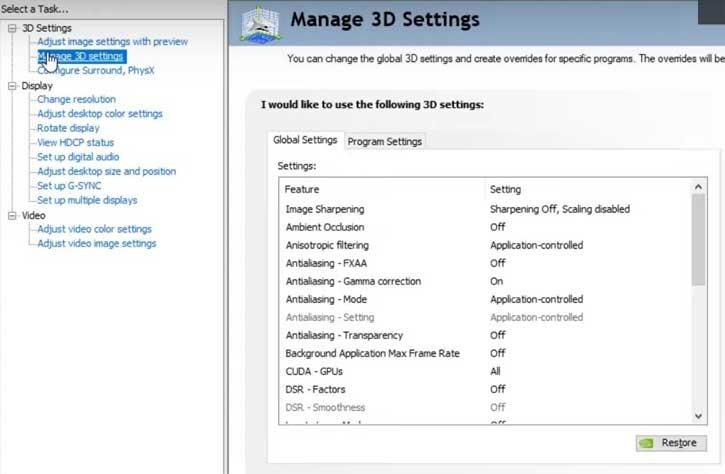 Nvidia Manage 3d Settings