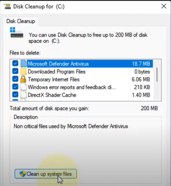RUn Disk Cleanup to fix 100% Disk useage In WIndows 11