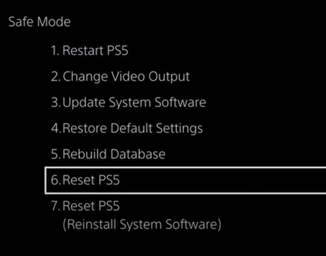Reset PS5 in Safe Mode