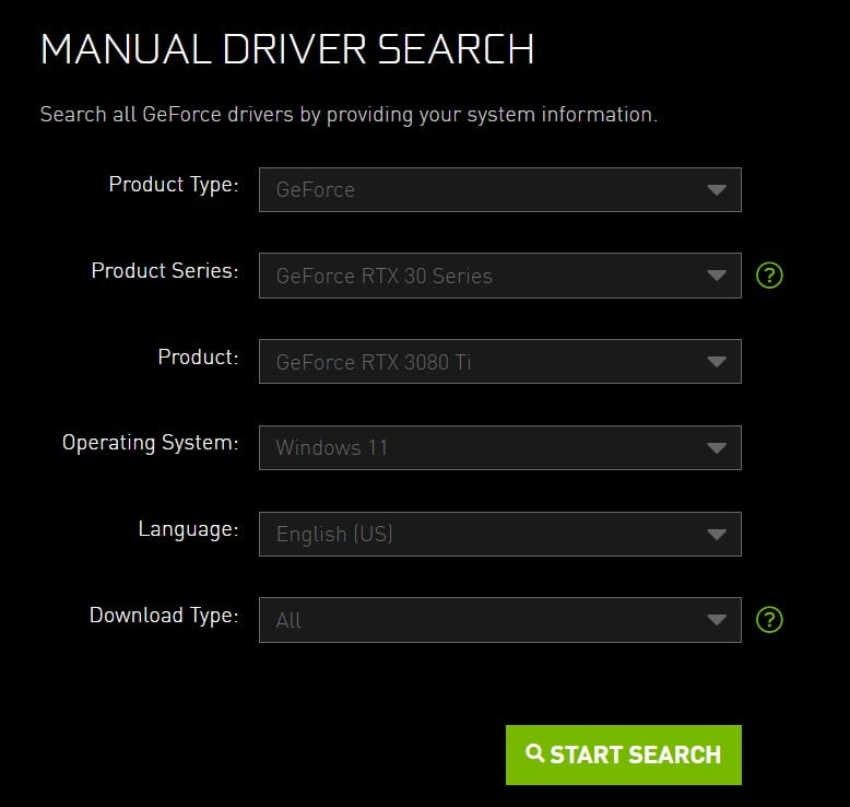 Select product type and operating system