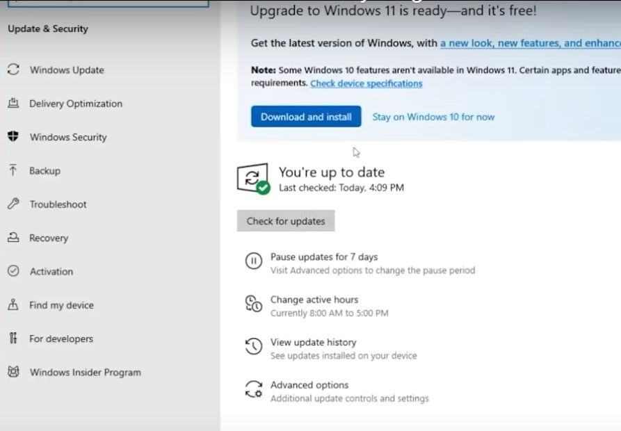WIndows 11 Update is now available